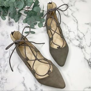 NINE WEST Shearlucko Lace Up Ballet Flats Size 7.5